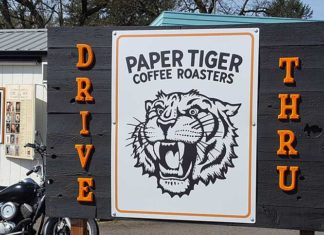 Paper Tiger coffee drive through